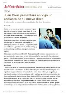 """Vista previa de """"Juan Rivas presentará en Vigo un adelanto de su nuevo disco"""""""